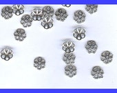 50 lead free silver tone flower bead caps