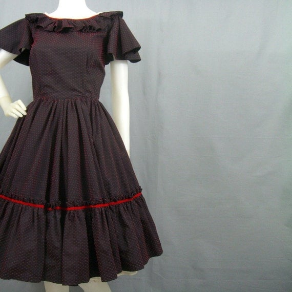 1950s full skirted dance dress with velveteen bow print