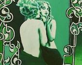 Vanity Art Nouveau Goddess Art 5x7 Greeting Card Retro Pin Up Girl