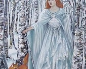 Birch Witch - Pagan Winter Goddess 5x7 Greeting Card