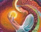 Incantation of a Gypsy Priestess Goddess Art 5x7 Card
