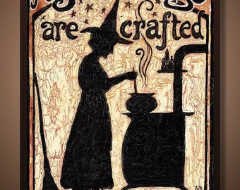 Magickal Things Are Crafted In This Kitchen 5x7 Greeting Card  Home Decor Pagan Witch Mythology Goddess Art