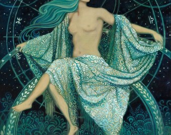 Asteria Goddess of the Stars 11x14 Print Greek Mythology Art Print Pagan Psychedelic Bohemian Gypsy Witch Goddess Art