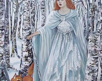Birch Witch 5x7 Greeting Card Fine Art Print Pagan Mythology Bohemian Yule Winter Solstice Goddess
