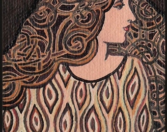 Tiger's Eye Goddess 5x7 Greeting Card Art Nouveau Gemstone Goddess Art