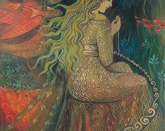 Neptune's Treasure  Mermaid Goddess Art 11x14 Print