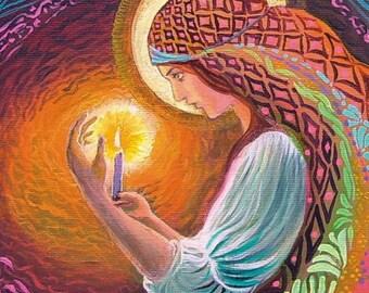 Incantation 5x7 Blank Greeting Card Pagan Mythology Psychedelic Gypsy Witch Goddess Art