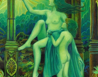 Panacea Greek Goddess of Healing Goddess Art 5x7 Greeting Card