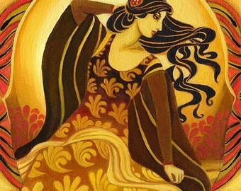 Madame Soleil 5x7 Blank Greeting Card Fine Art Print Pagan Mythology Art Nouveau Bohemian Sun Goddess