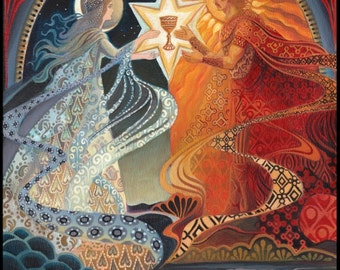 Alchemical Wedding Sacred Marriage 5x7 Greeting Card Mythology Bohemian Gypsy Goddess Art