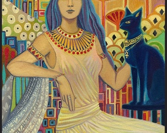 Bast Egyptian Cat Goddess Art ACEO Mini Print Altar Art Pagan Mythology Psychedelic Gypsy Goddess Art
