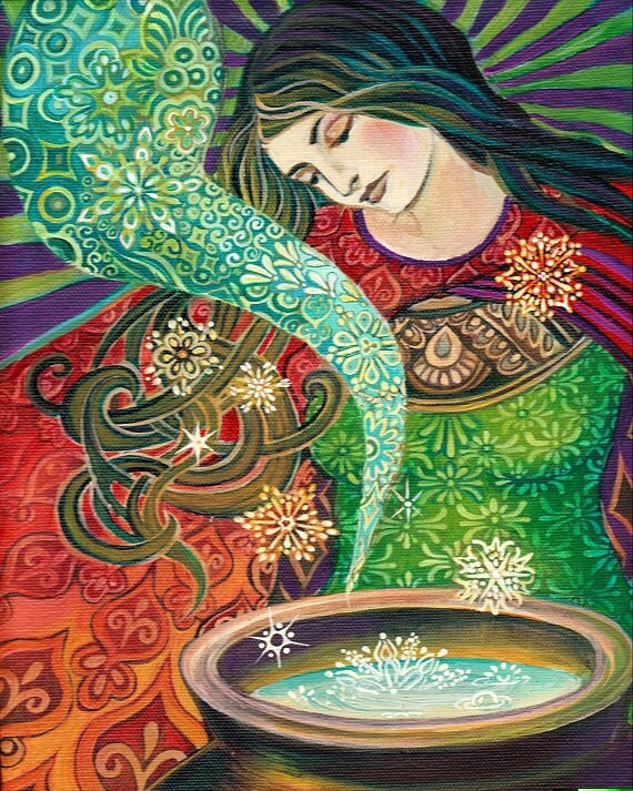 Cerridwen's Cauldron Psychedelic Art Nouveau Goddess Art 16x20 Poster Print