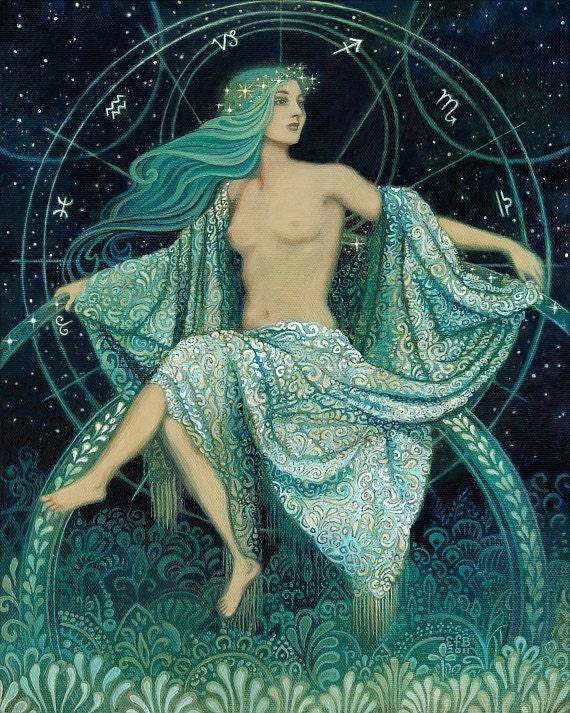 Asteria Goddess of the Stars 8x10 Fine Art Print Pagan Mythology Bohemian Astrology Greek Goddess Art