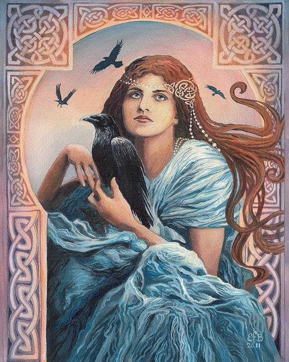 Goddess Art Mórríghan Celtic Witch Art Nouveau 16x20 Poster Print