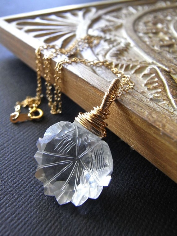 Necklace - goldfill, rock crystal quartz, AAA gemstone, wire wrapped, bridal design - Tilda