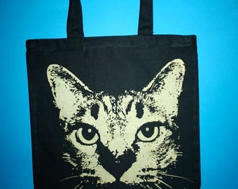 cat bag, cat tote, Katze, cat tote bag, black cat tote, black tote with golden cat,  canvas tote w golden cat