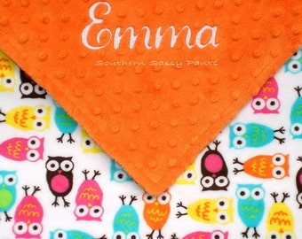 Baby Girl Owl Blanket , Personalized Baby Girl Blanket , Embroidered Baby Blanket