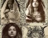 SALE LoVe LeTTErS instant digital Download - Vintage Victorian Beautiful Woman >> Digital Printable collage sheet