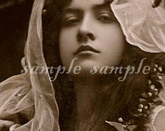 instant DIGITAL DOWNLOAD > VINTAGE Victorian photo > Edwardian Beautiful woman > Printable Collage sheet > no519
