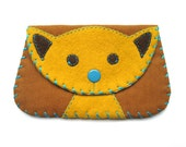 Cat Snap Wallet Purse in Yellow and Brown