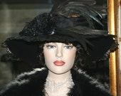 "Downton Abbey Hat Titanic Hat Edwardian Tea Hat ""Lady Amherst"" Feather Hat ON SALE! WAS 399.00"