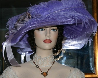 Ascot Hat Kentucky Derby Hat Wide Brim Tea Hat Titanic Hat Somewhere in Time Hat Downton Abbey Hat Edwardian Hat Lavender - Lady Ophelia