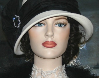 Flapper Downton Abbey Tea Hat Gatsby Church Hat Kentucky Derby Ascot Hat Roaring Twenties - Josephine