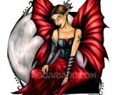 Moon Fairy Art Magnet - Black Spider Tattoo - Red Butterfly Wings