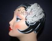 White Fascinator Feather Curly Hair Clip eda Clara Bow