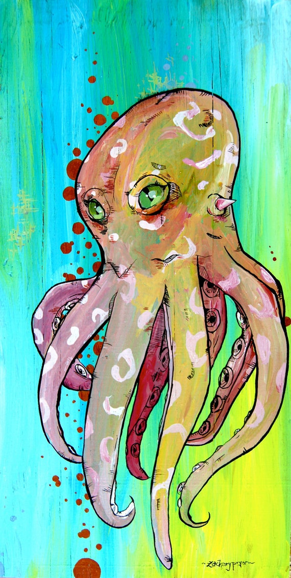 Octopus - I Can Love You Better - custom made-to-order wooden painting - peach and teal