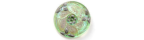 Czech Glass Flower Button Iridescent Light Green Lilac & Silver 1-1/8 inch