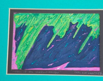 original oil painting green lime navy pink raspberry oil on paper abstract ooak matted