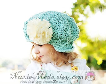 Robins Egg Blue Newsboy Hat 12-24 Months Childrens Hat Apple Cap Turquoise Hat Girls Winter Hat Fall Hat Crochet Girl Hat Beanie with Brim
