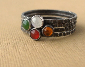 Irish Sunset - Dainty Gemstone Stacking Set of 4 rings - Also available in shiny or matte finish - sterling silver