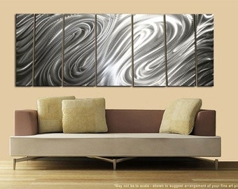 Large Natural Silver Abstract Metal Artwork - Contemporary Wall Sculpture - Wave Design Multipiece Metal Accent - Formation by Jon Allen