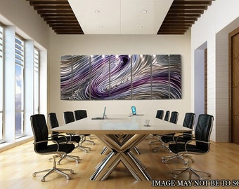 Purple Abstract Metal Painting Modern Metal Home Decor Metal Wall Art Accent