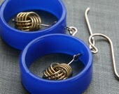 nautical knot earrings (cobalt blue vintage Lucite. vintage gold tone knots. gold filled wire)