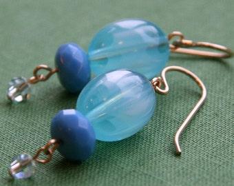 robin's egg earrings (vintage blue Lucite. blue glass. Swarovski crystal. gold filled wire)