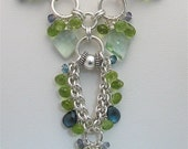 Handmade Blue Green Gemstone Chainmaille Statement Necklace, Sterling Silver