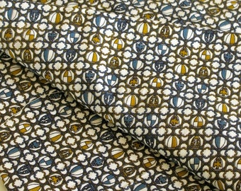 Vintage Fabric Cotton Print Codes of Arms Blue White Gold 2 Plus Yards