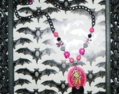 Hot Pink and Black Zombie Pinup Cameo Necklace
