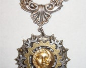 "Victorian Steampunk ""All the Time Under the Sun"" Handmade Sun Moon Necklace"