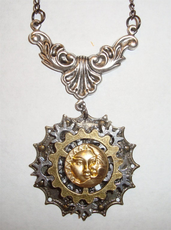 """Victorian Steampunk """"All the Time Under the Sun"""" Handmade Sun Moon Necklace"""