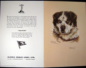 Vintage Menu With Lithograph Of  MAGEIK An Alaskan Sled Dog
