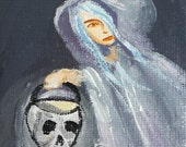 Gothic ghost art, haunted shroud and skull 3 x 5 acrylic painting