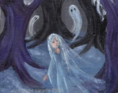 Snow ghost gothic winter art, lost forest girl, purple trees in haunted woodlands original 7 x 9 painting spooky cute
