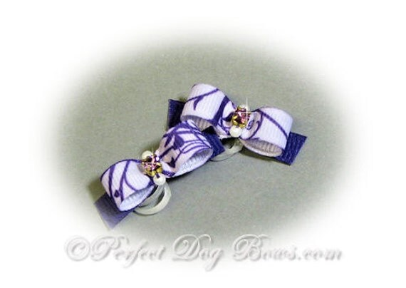 Purple Dog Bow, Vines Ribbon, Small Dog Bow, Pet Hair Bow, Purple Rhinestone