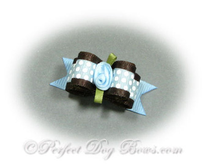 Blue Dog Bow, Boy Dog Bow, Small Dog Bow, Blue Pet Bow, Dog Bows for Boys, Pet Grooming Bow, Dog Grooming Bow, Top Knot Bow