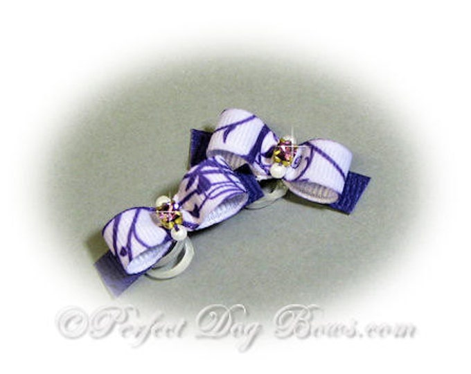 Purple Dog Bow, Vines Ribbon, Small Dog Bow, Pet Hair Bow, Purple Rhinestone