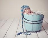 Stocking Hat Elf Munchkin newborn infant baby blue grey gray photography prop